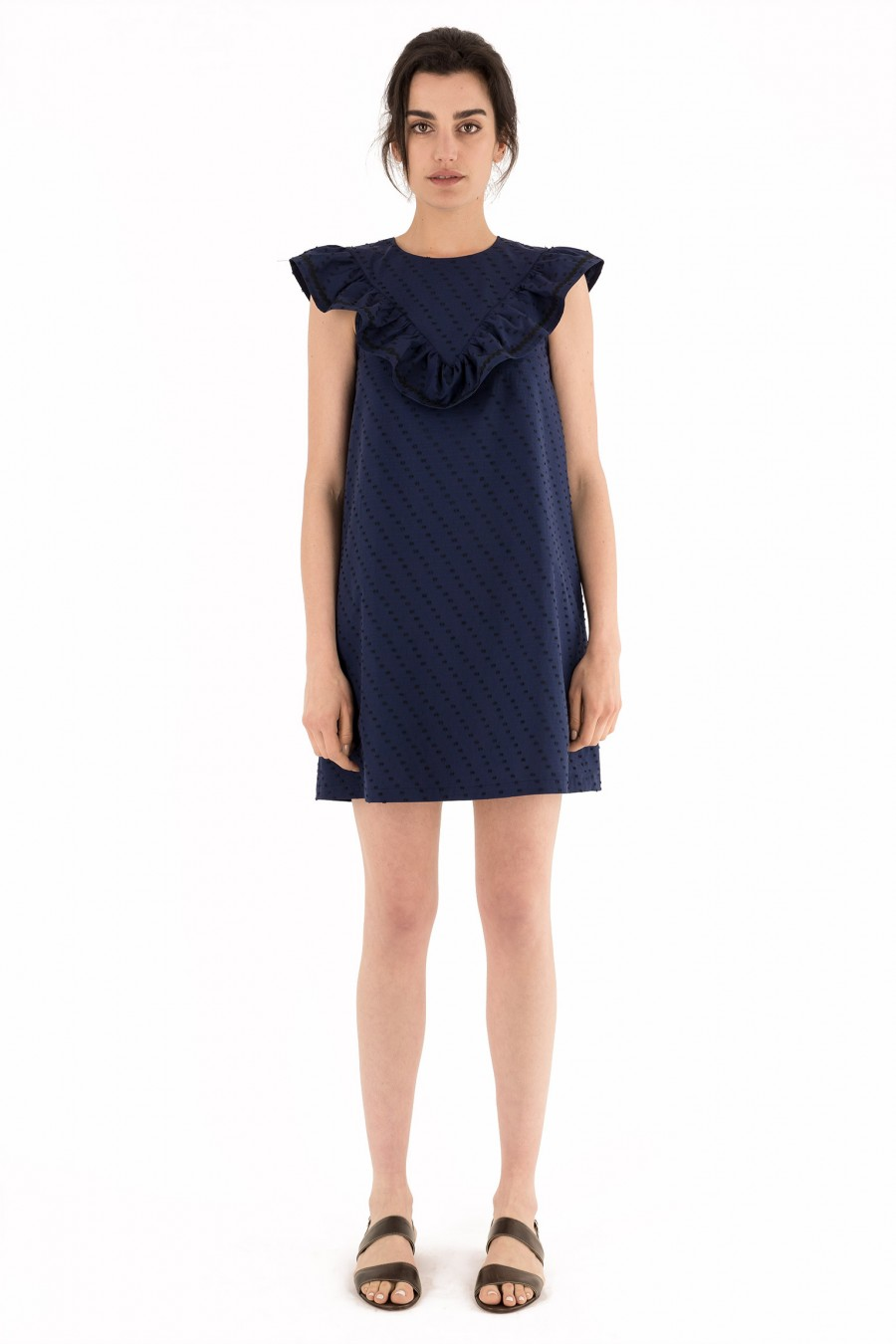 Blue a-line dress with ruffles