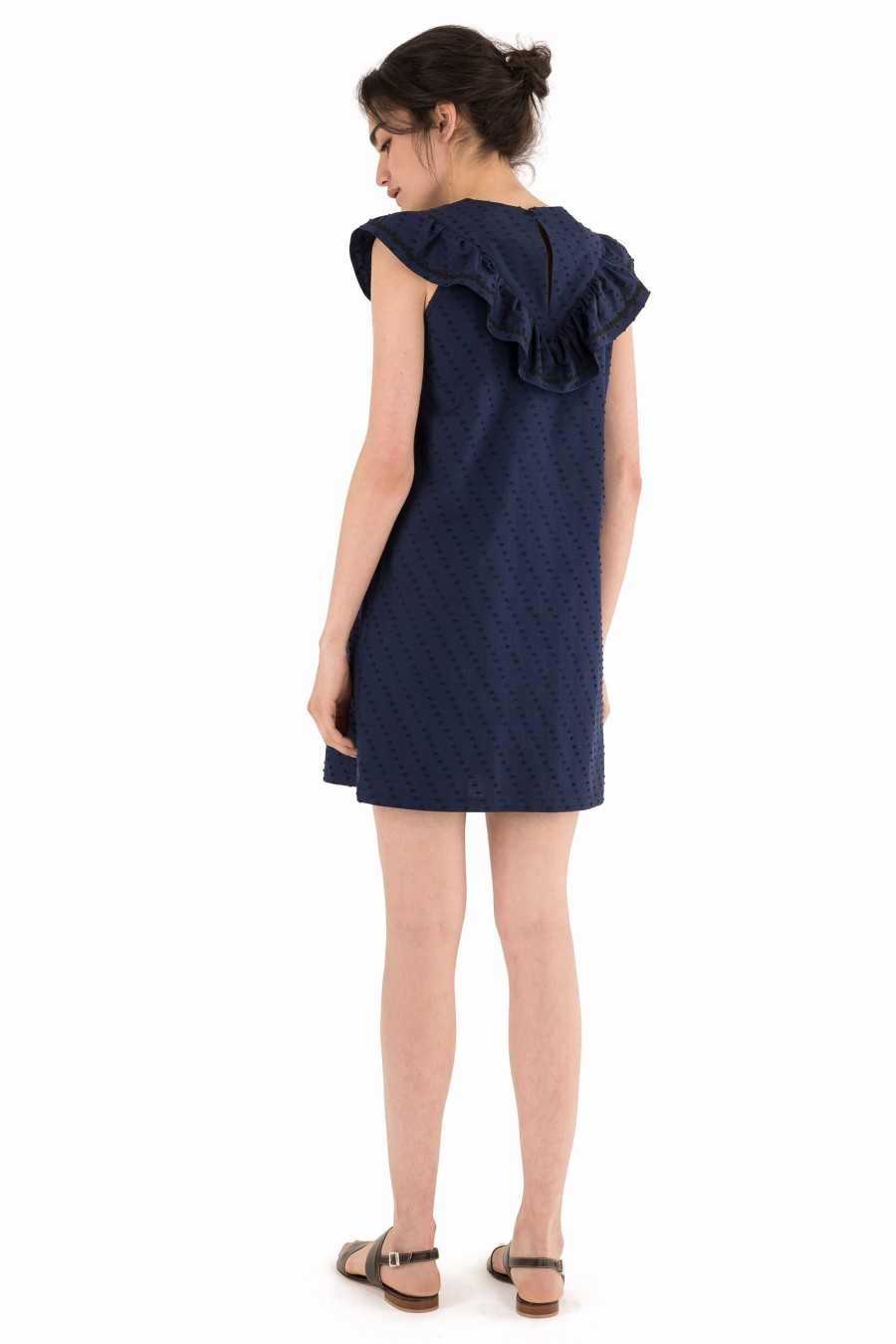 Blue cotton dress with triangle collar