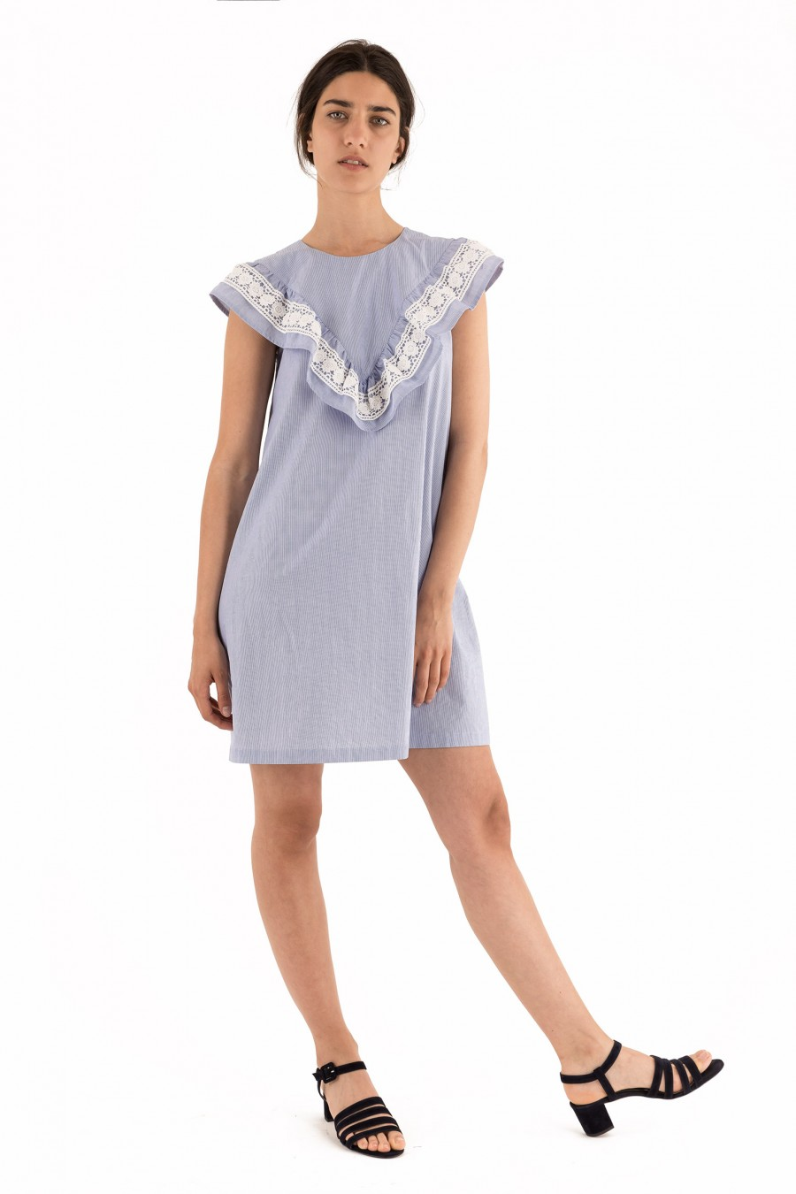 A-line cotton dress with lace