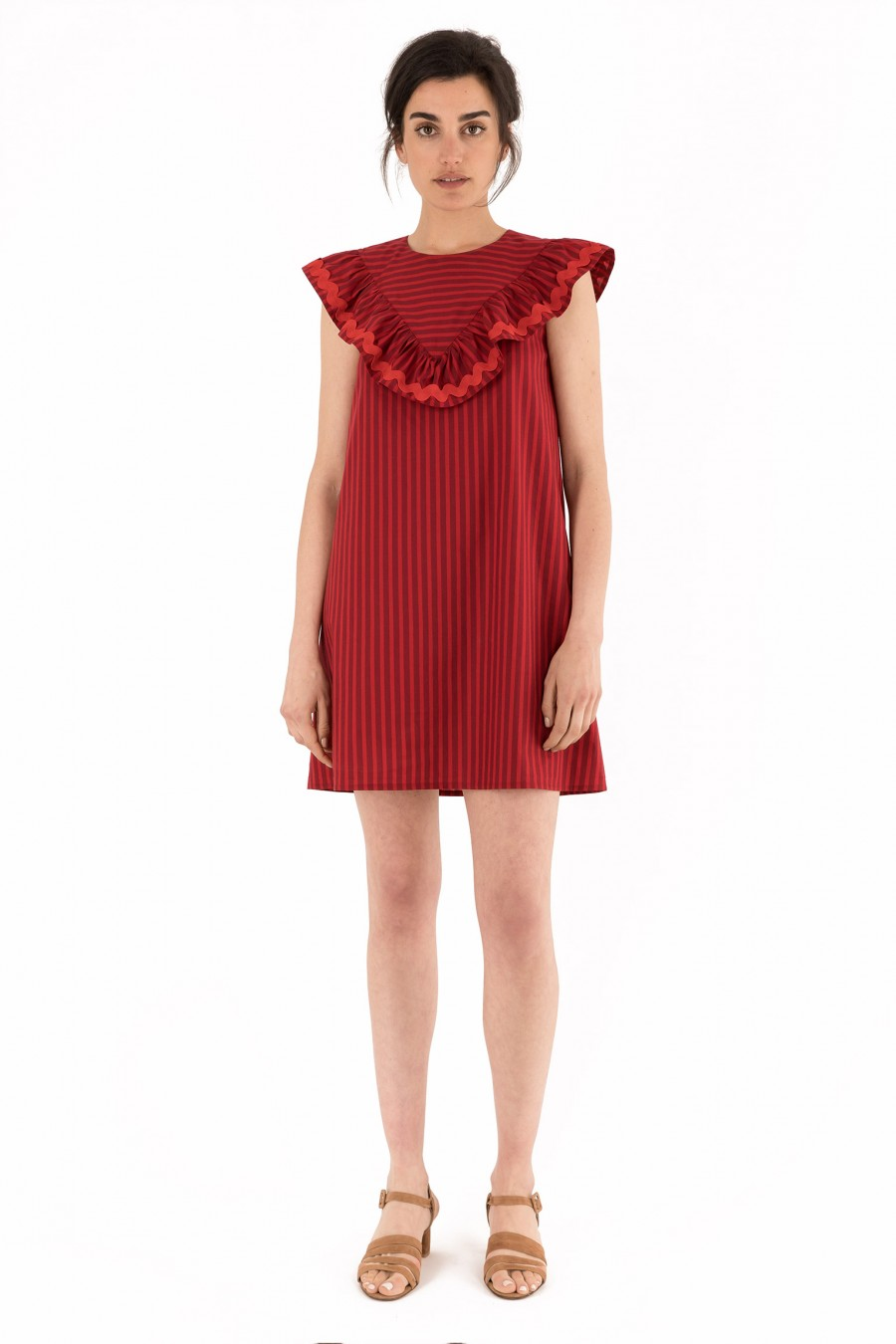 Dress with red and burgundy stripes
