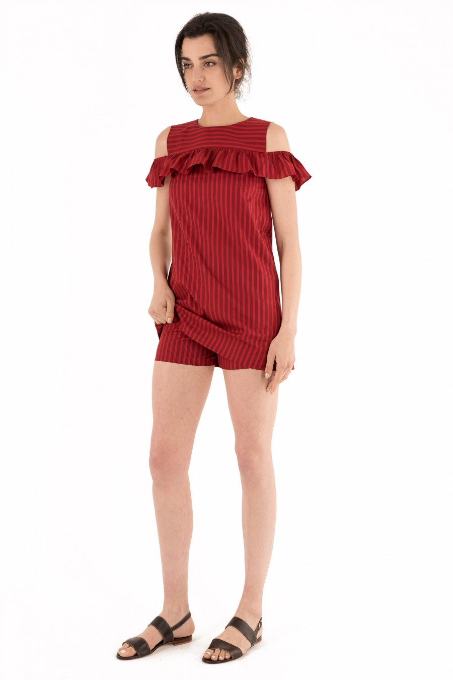 Red mini striped dress with ruches