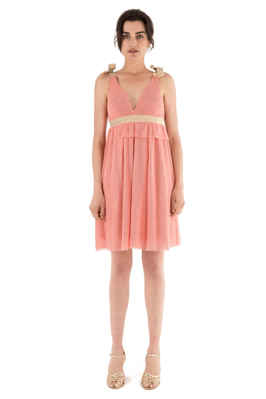 Pink empire dress with golden ribbon