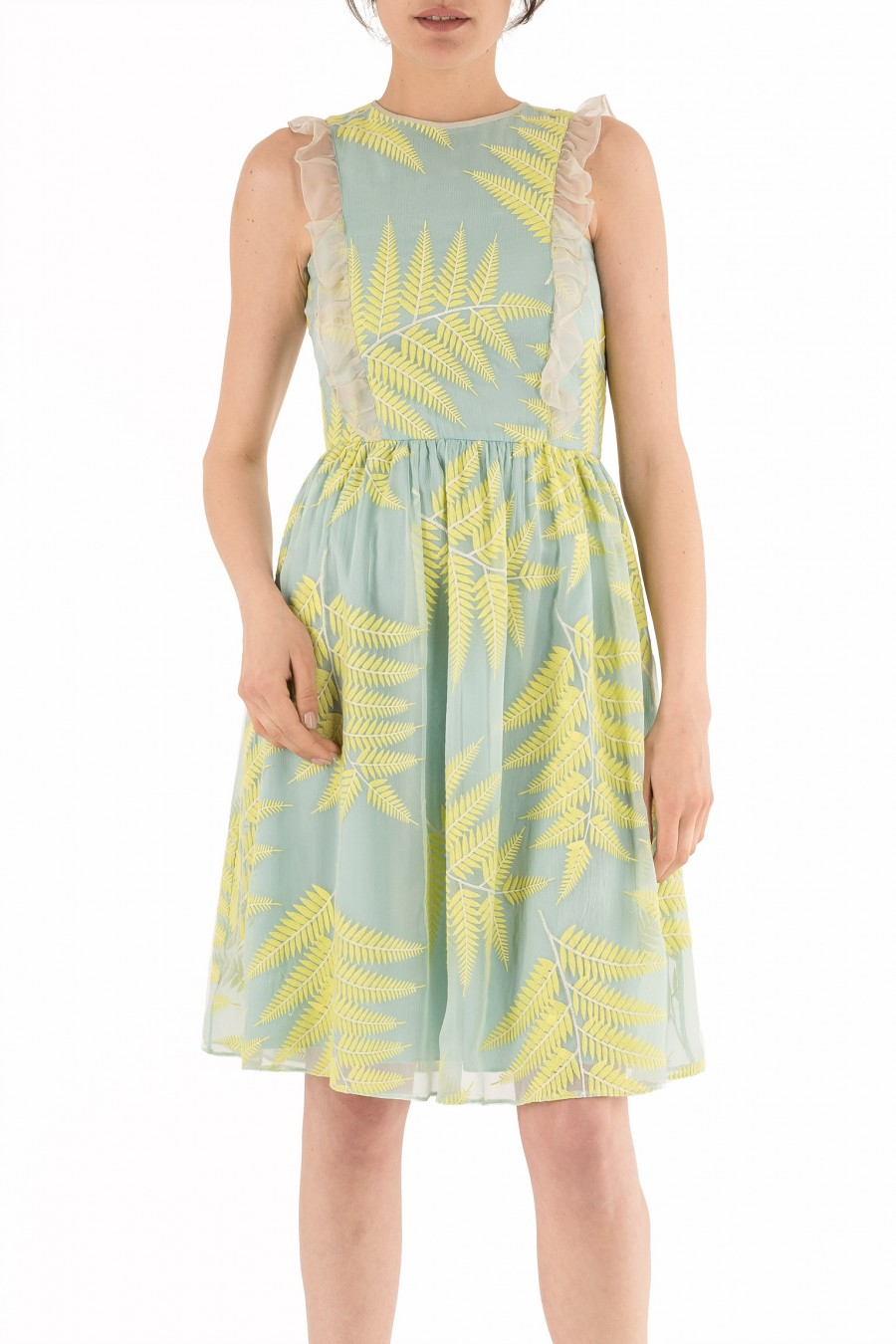 Dress with embroidered ferns