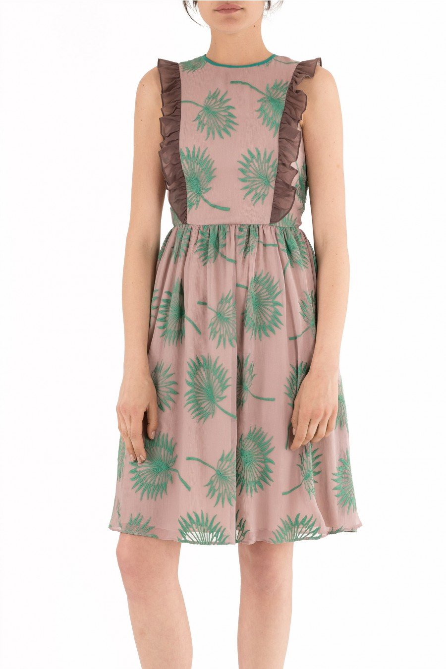 Pink dress with green embroidery