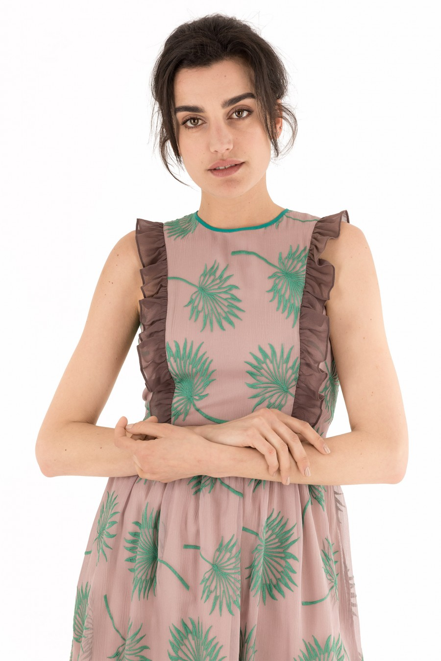 Dusty rose dress with embroidered ferns