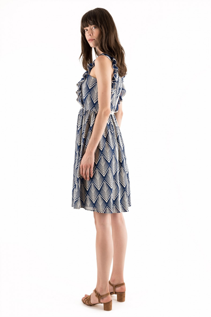 Elegant blue dress with with ruches
