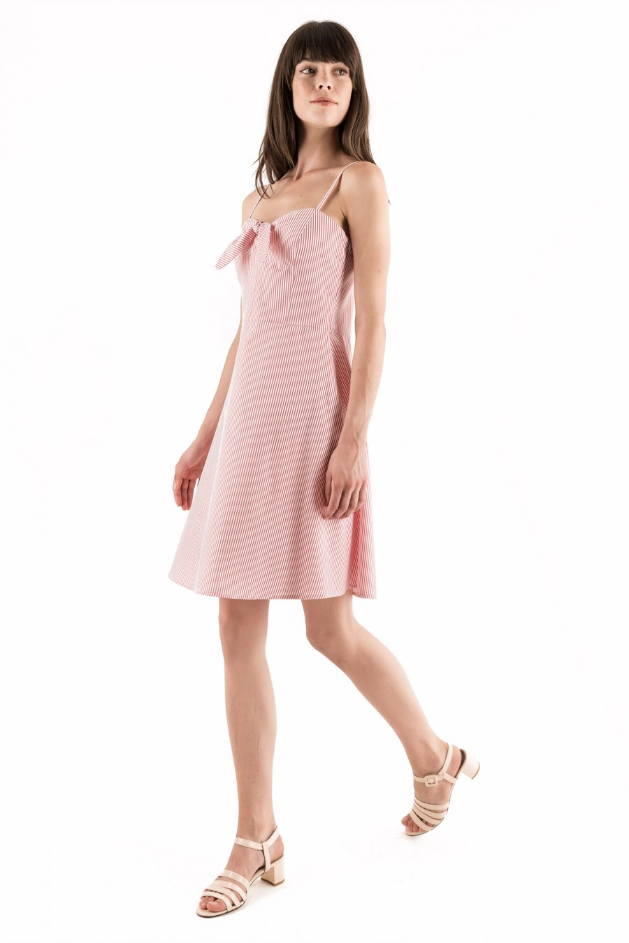 Pink summer dress with ribbon on the top