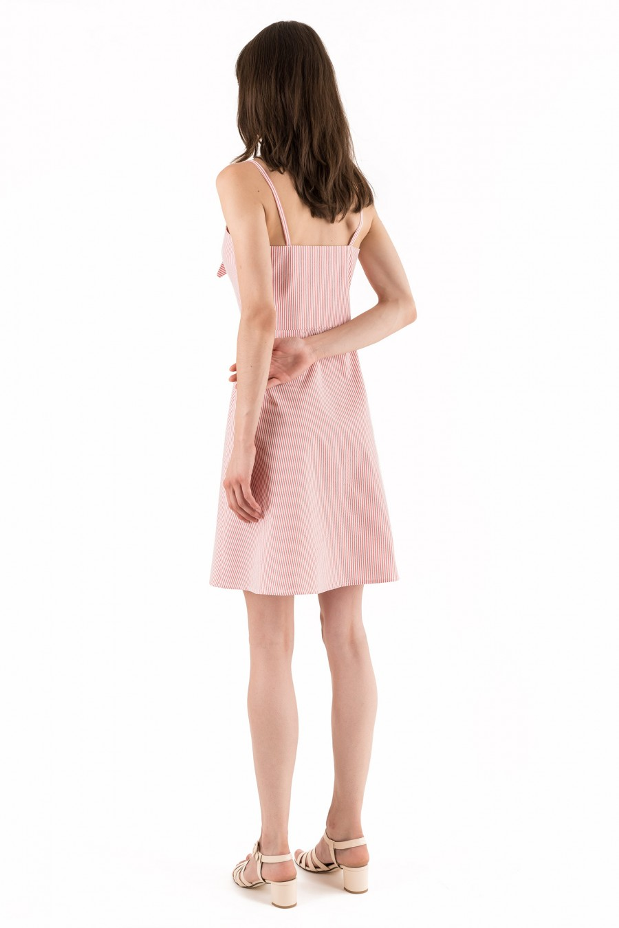 Summer pink dress with stripes