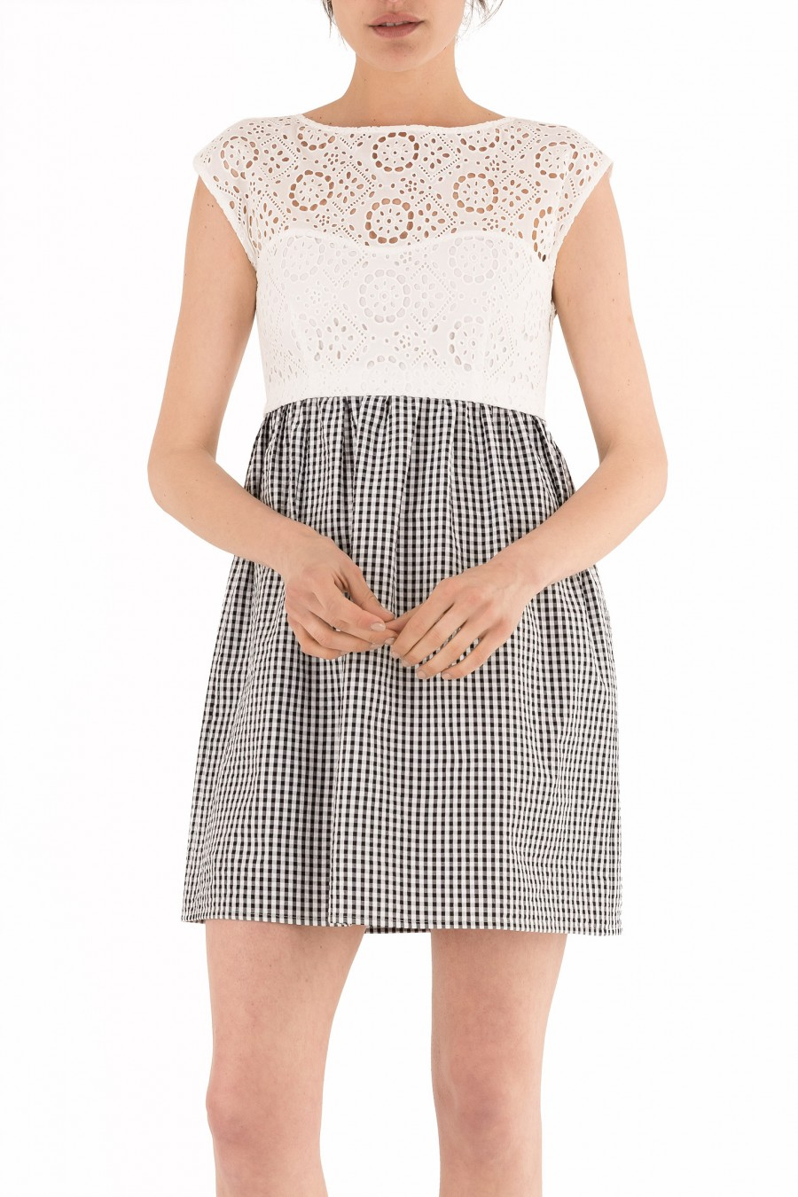 Dress with broderie anglaise top