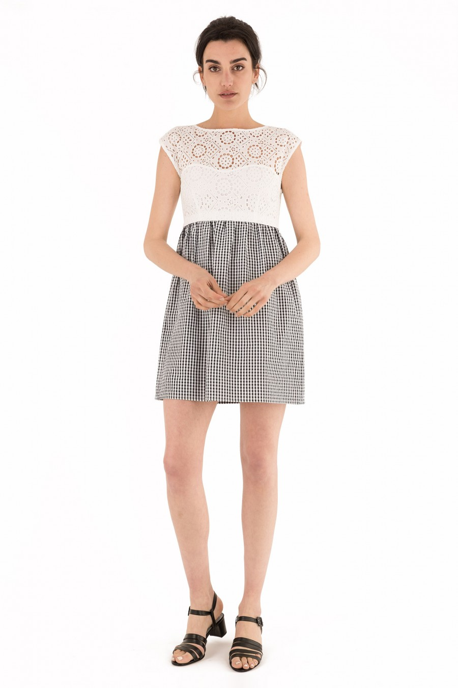 Dress with checked skirt