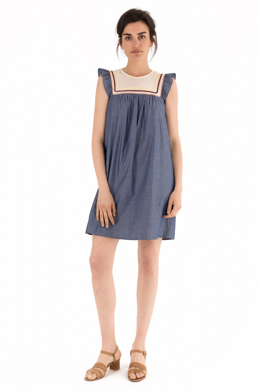 Chambray dress with jacquard microprint