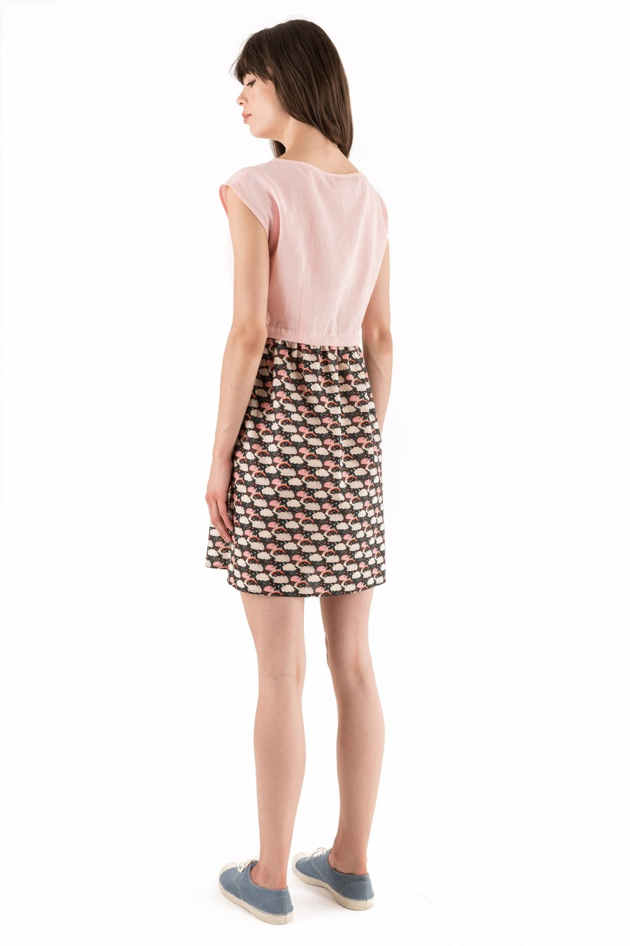 Dress with pink and black print