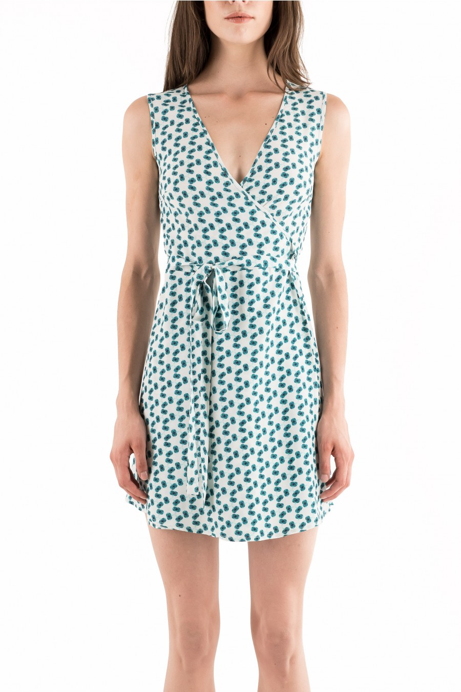 Short wrap dress with green and blue flowers