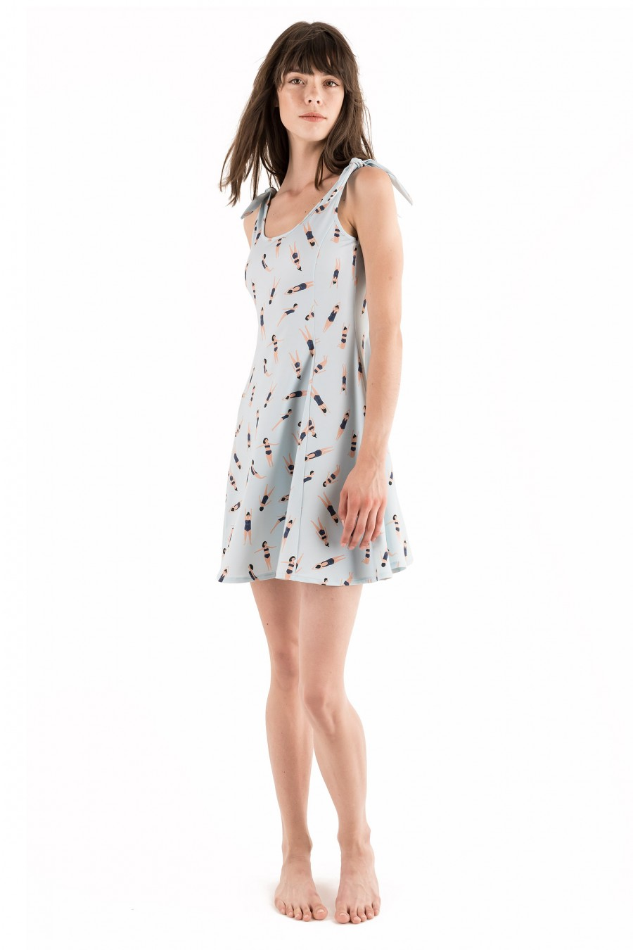 Slim fit dress with swimmers pattern