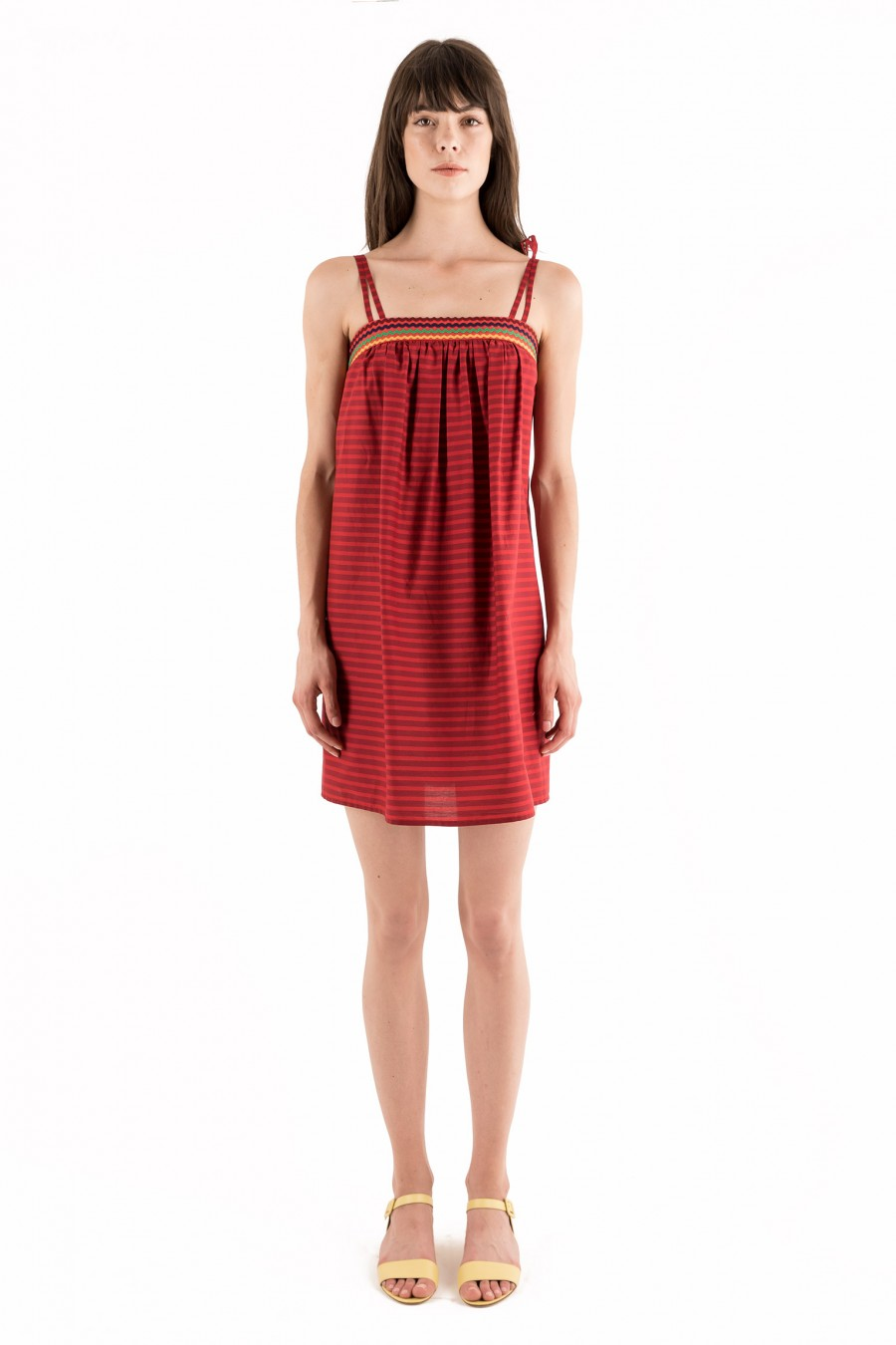 Casual red and burgundy dress