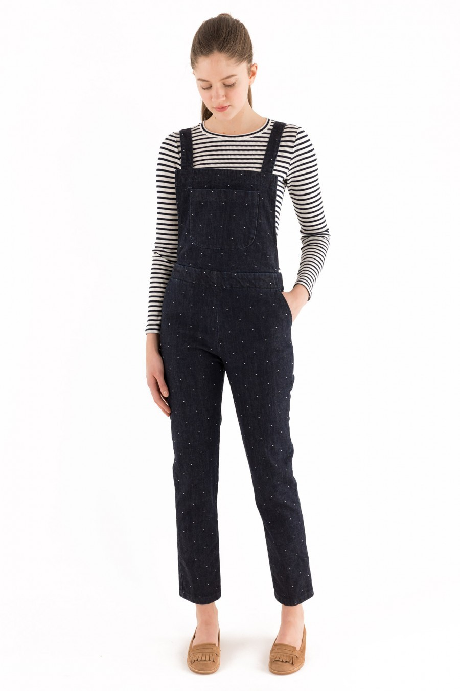 polka dots overalls dark denim