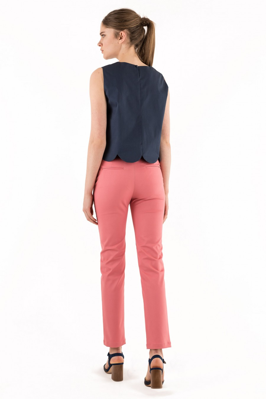 Cotton pink trousers made in Italy