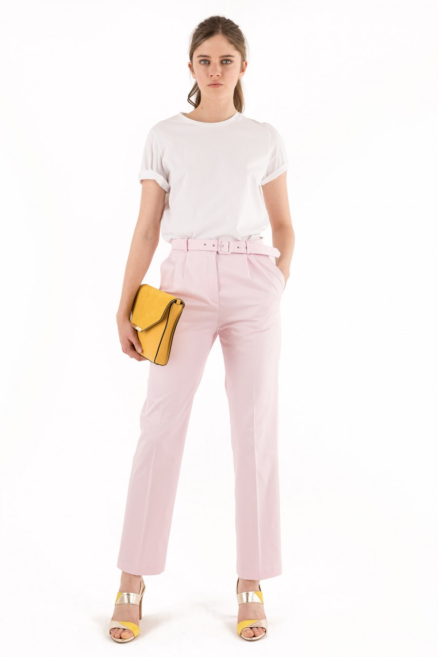 Cotton pink trousers with belt