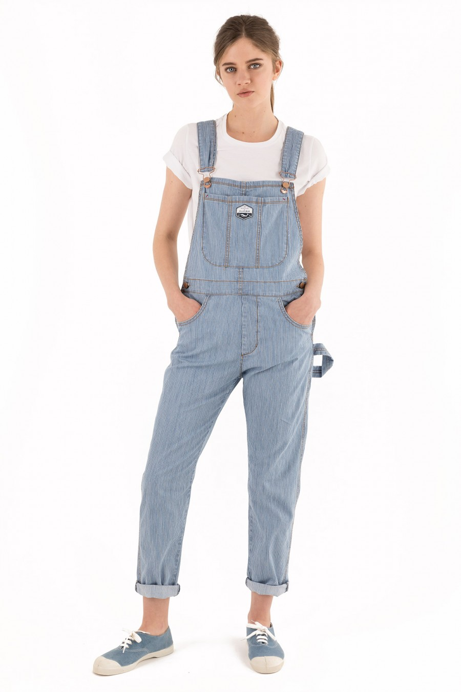 Striped long overalls