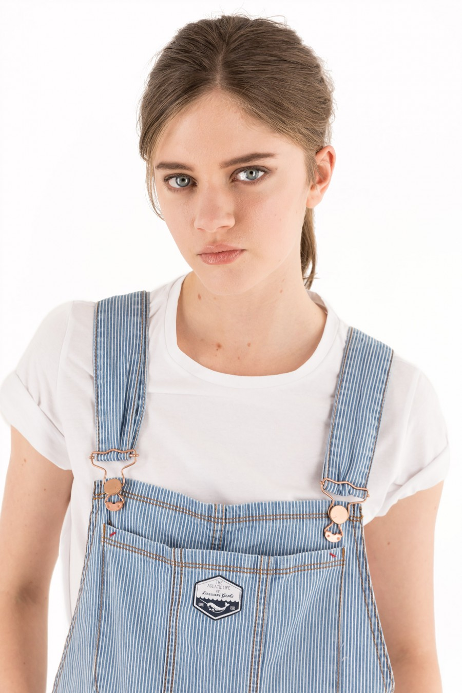 Light denim striped overalls