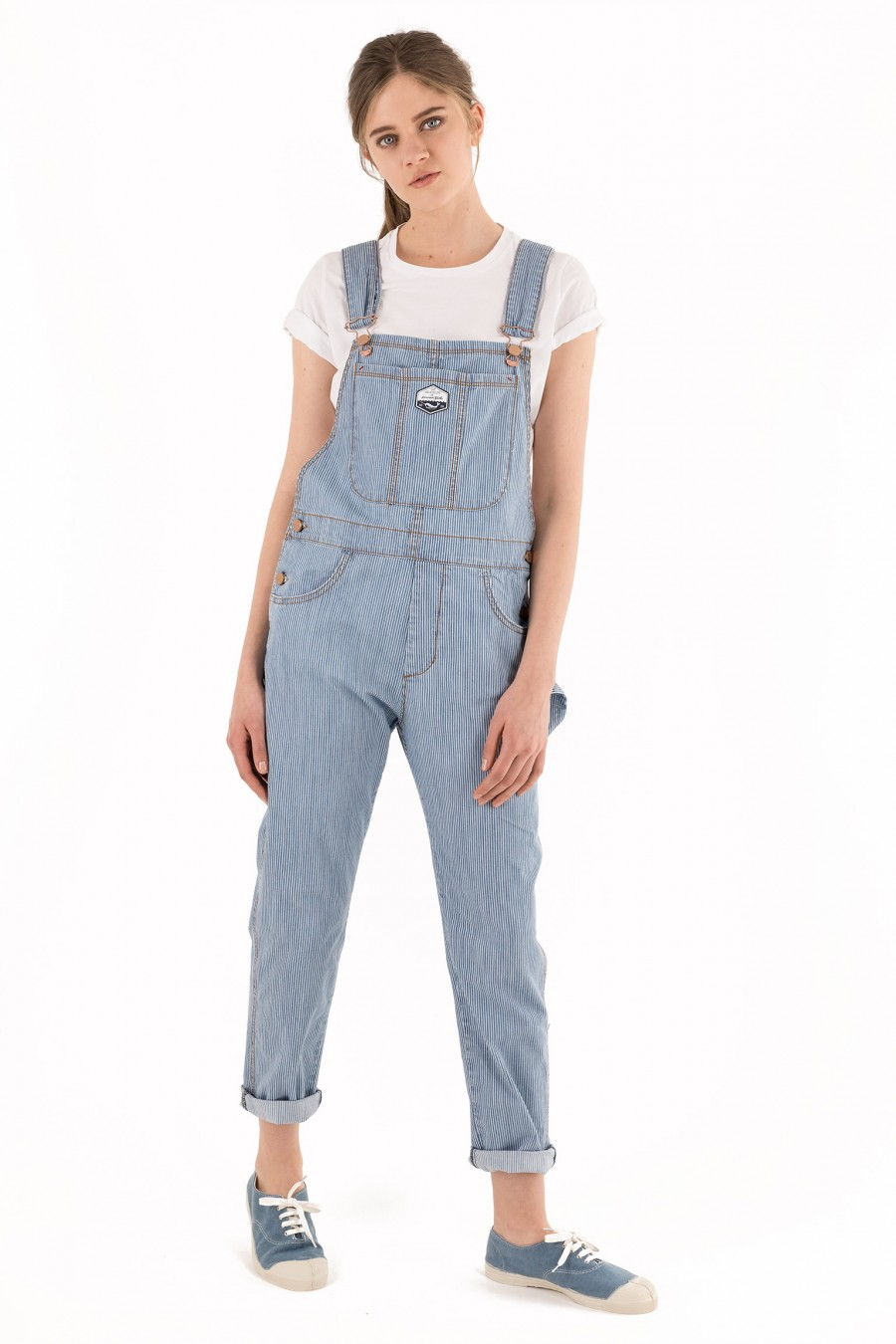 Light blue striped overalls
