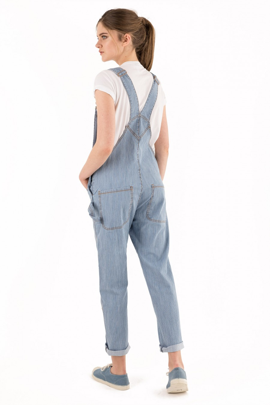 Denim overalls with white stripes