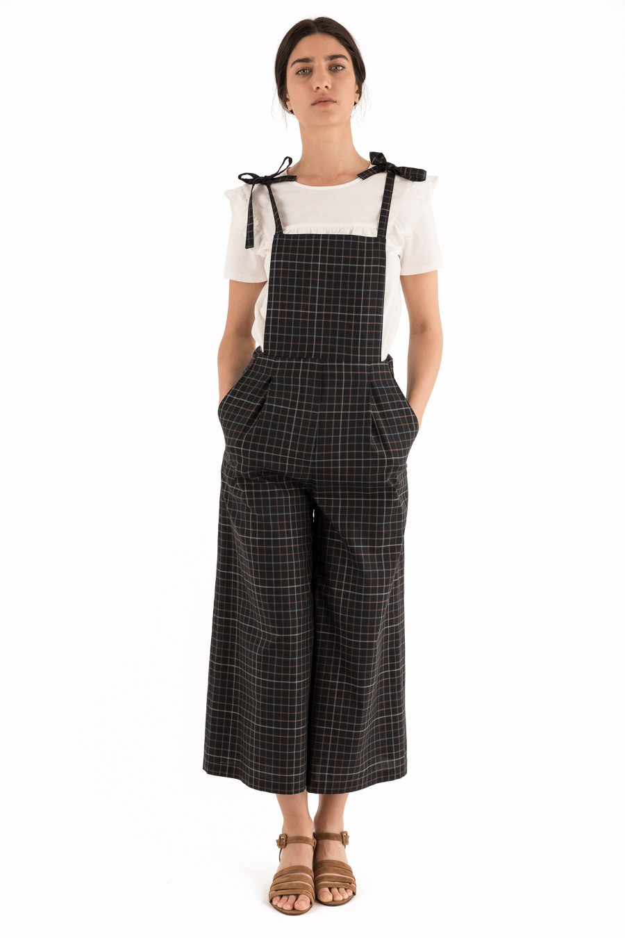 Long overalls with checks pattern