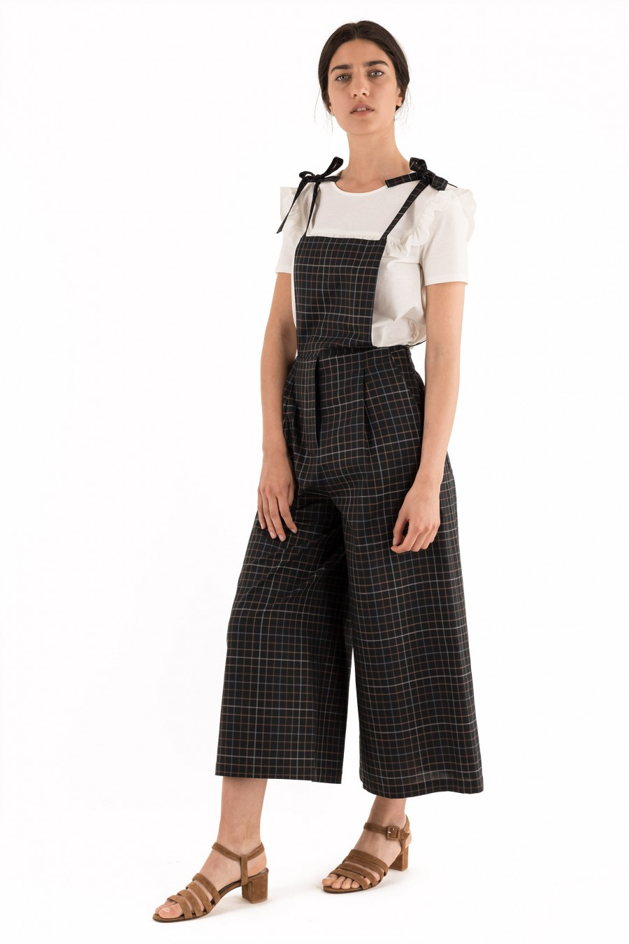 Black overalls with checks