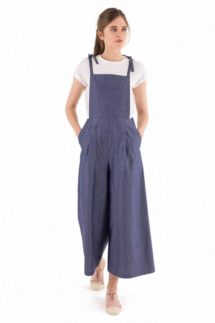 Light denim overalls with palazzo pants