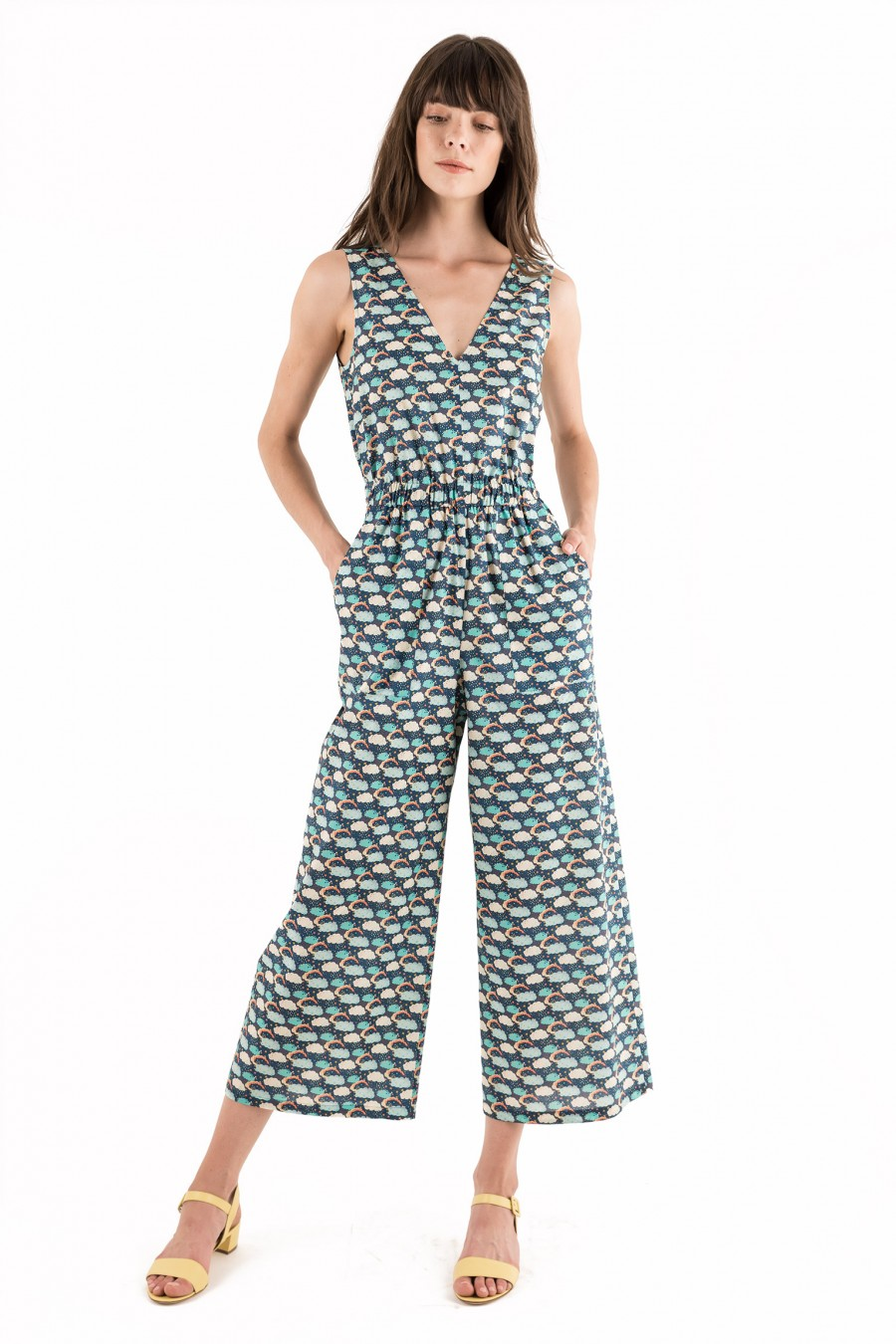 Cotton overalls with stars print