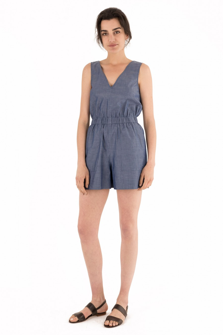 Dark blue short overalls