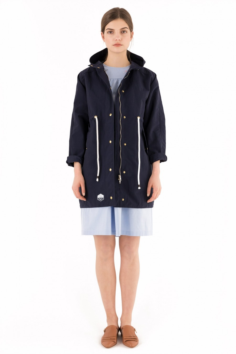 light trench coat blue Lazzari