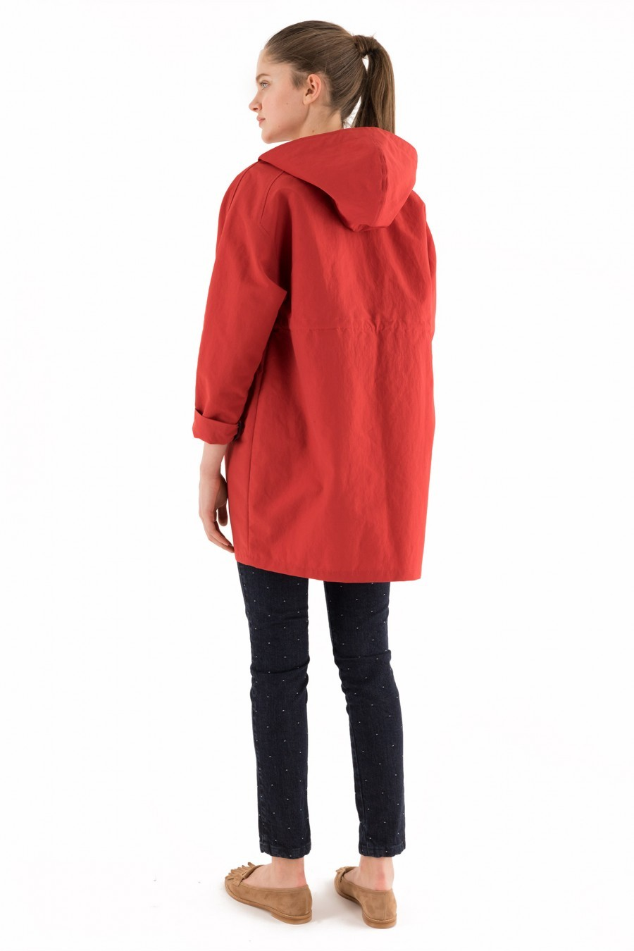 spring jacket hood red lazzari