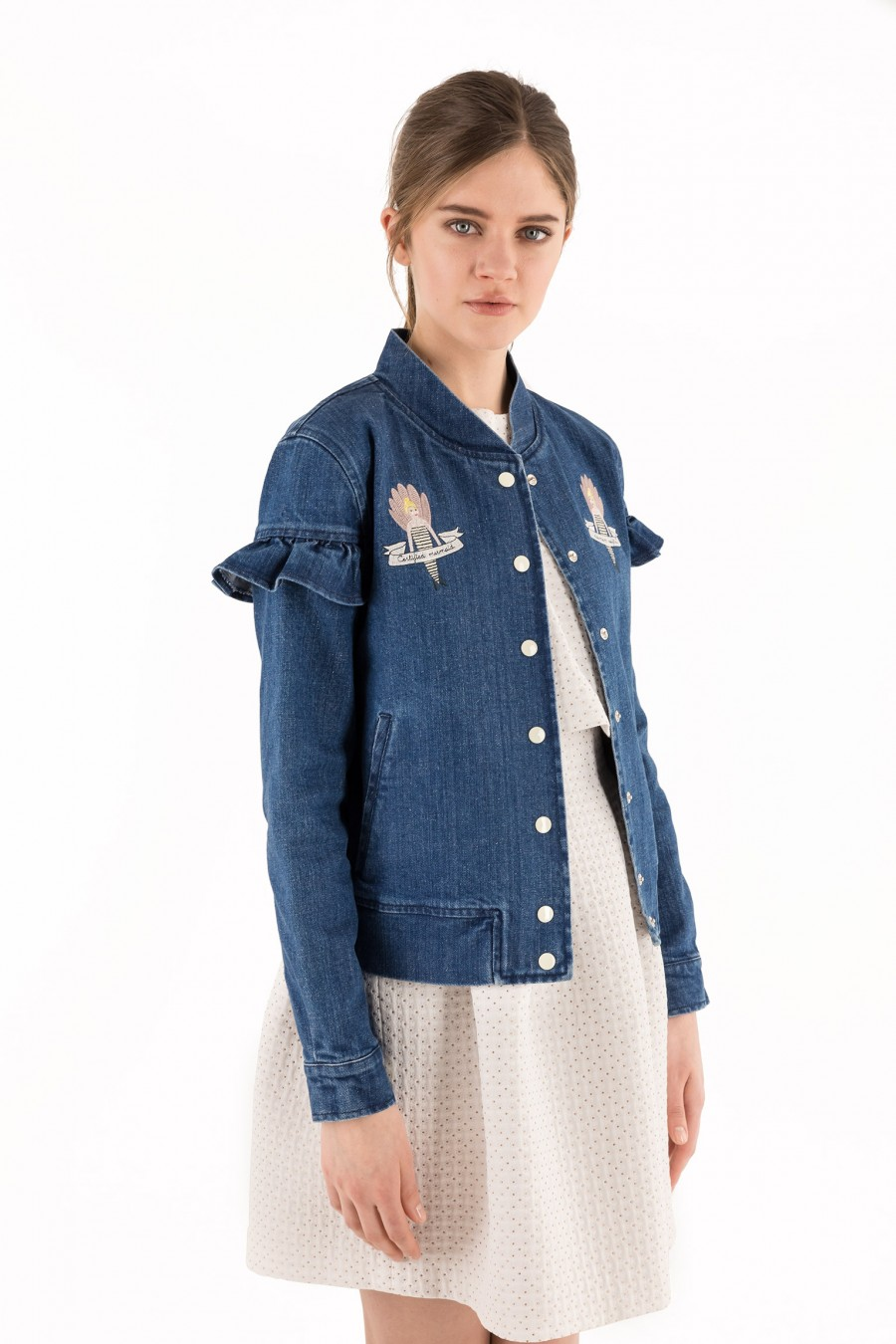 Jeans jacket with embroidered mermaids