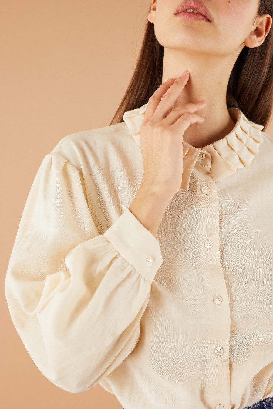 romantic shirt with pleated collar