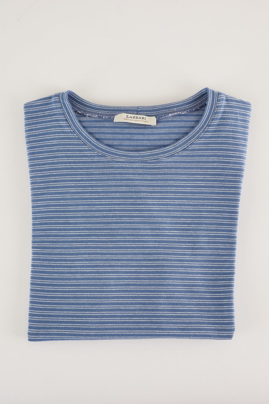 powder blue t-shirt with white stripes