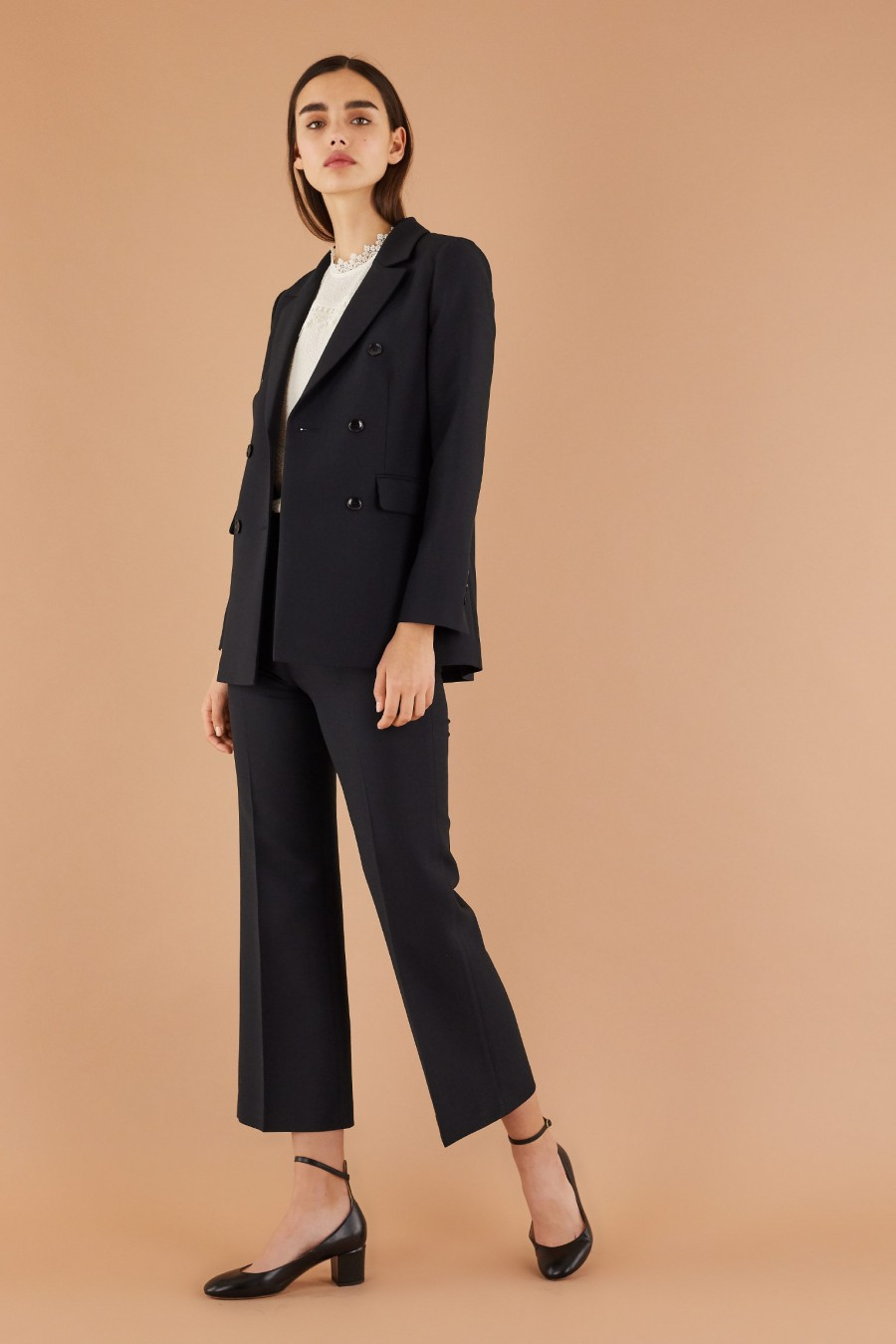 wool black suit with trumpet trousers