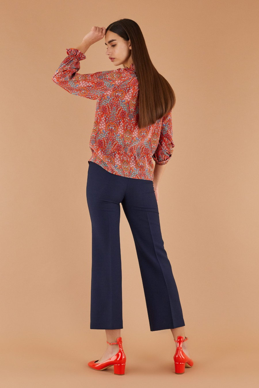 blue trumpet trousers with red heels