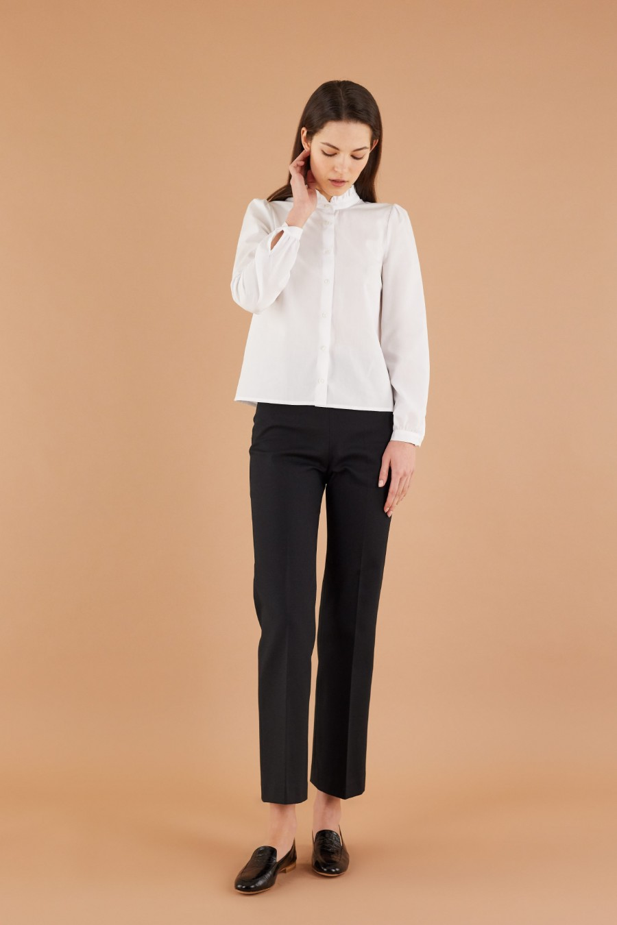 elegant style with cotton trumpet trousers