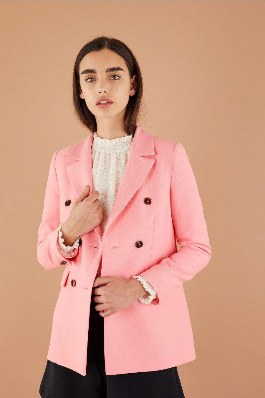 bright pink double-breasted jacket