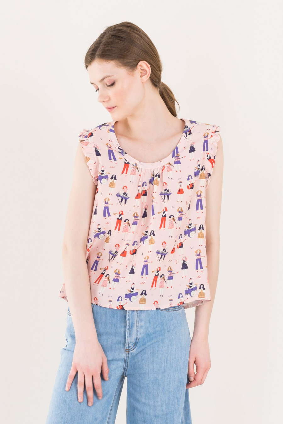 Illustrated sleeveless top