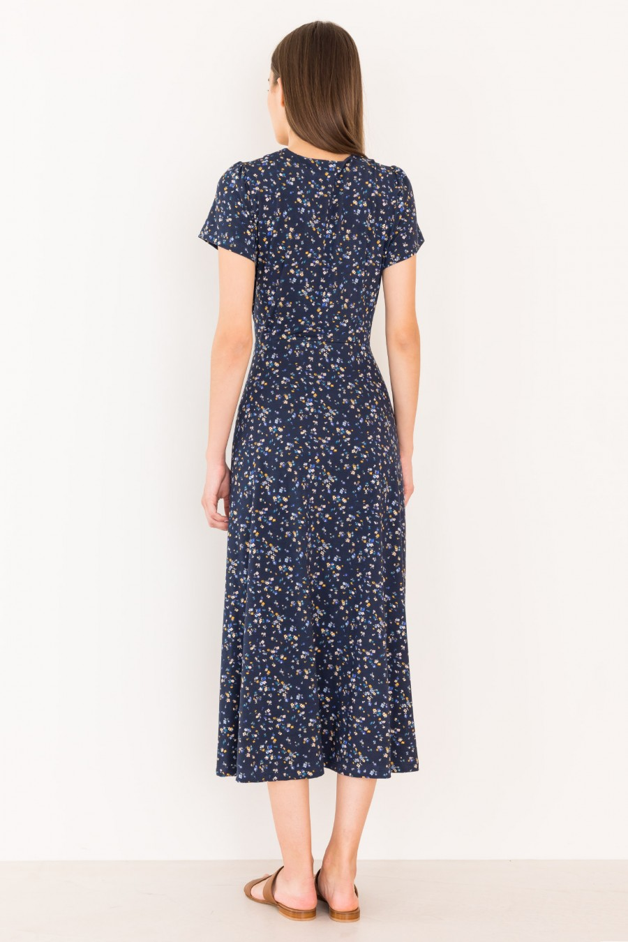 Blue long dress with short sleeves
