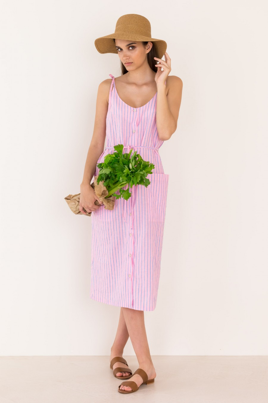 Striped sundress with buttons