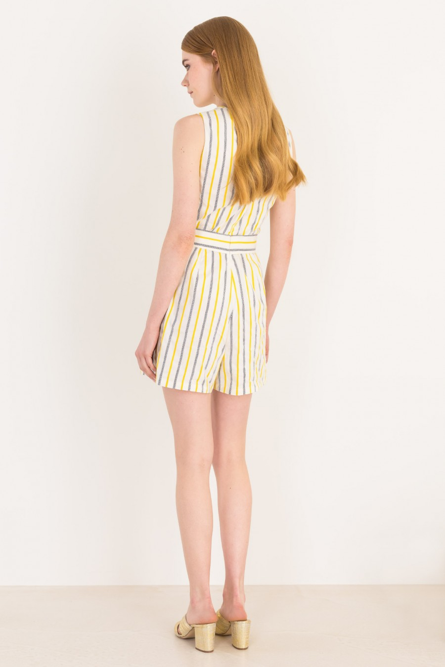 Striped romper with ribbon