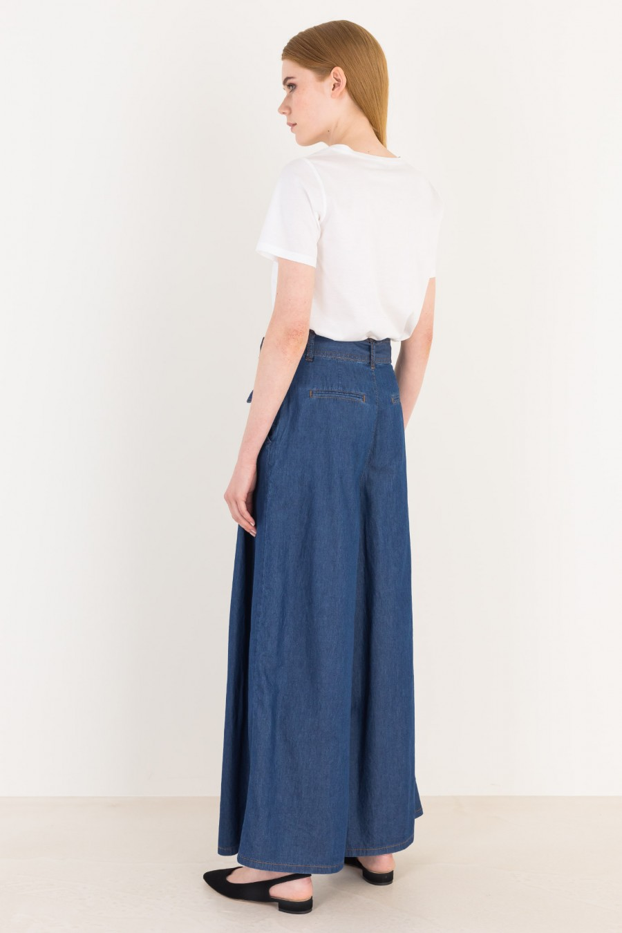 Denim wide high-waisted trousers