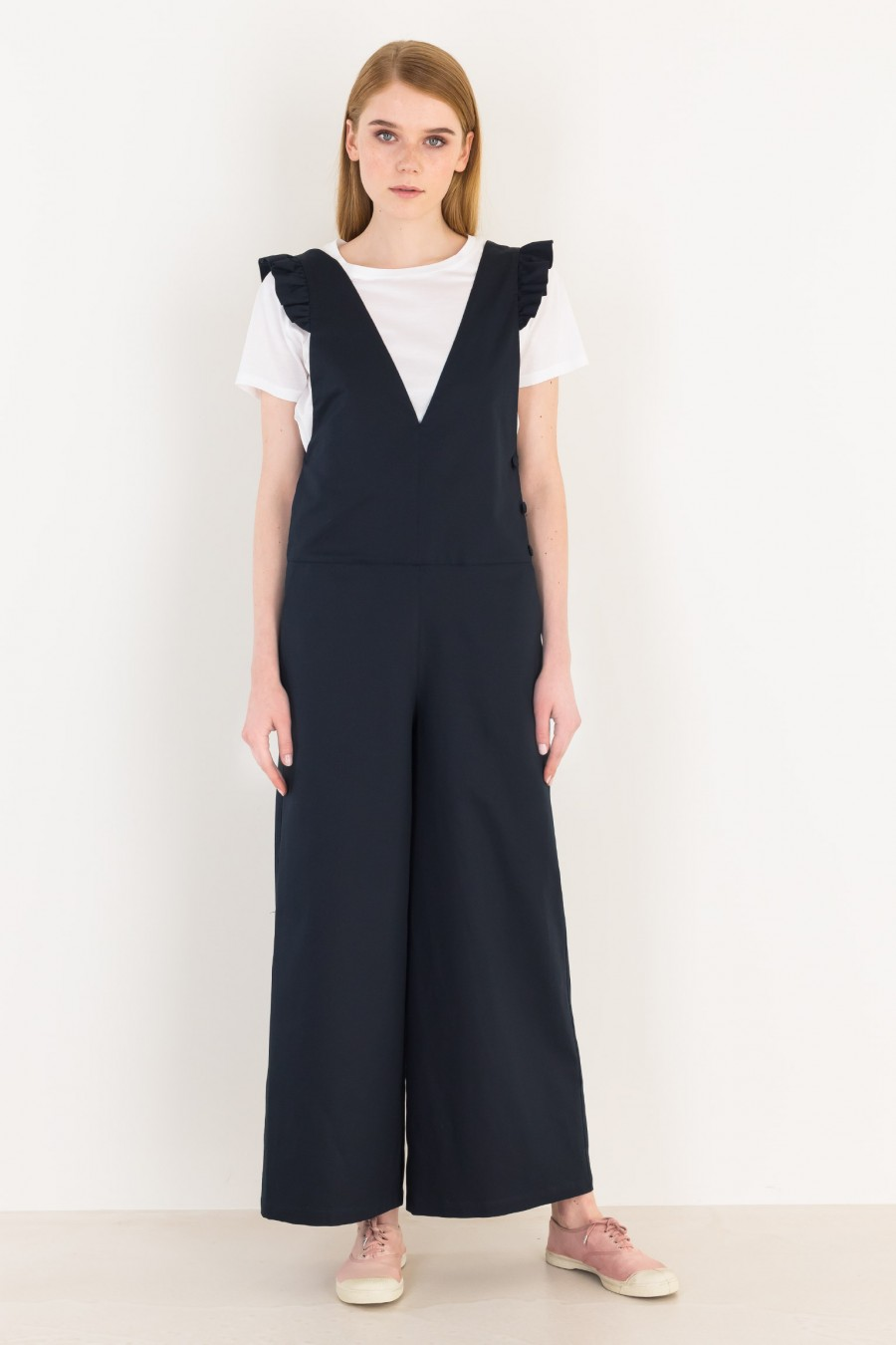 Overalls with ruffles
