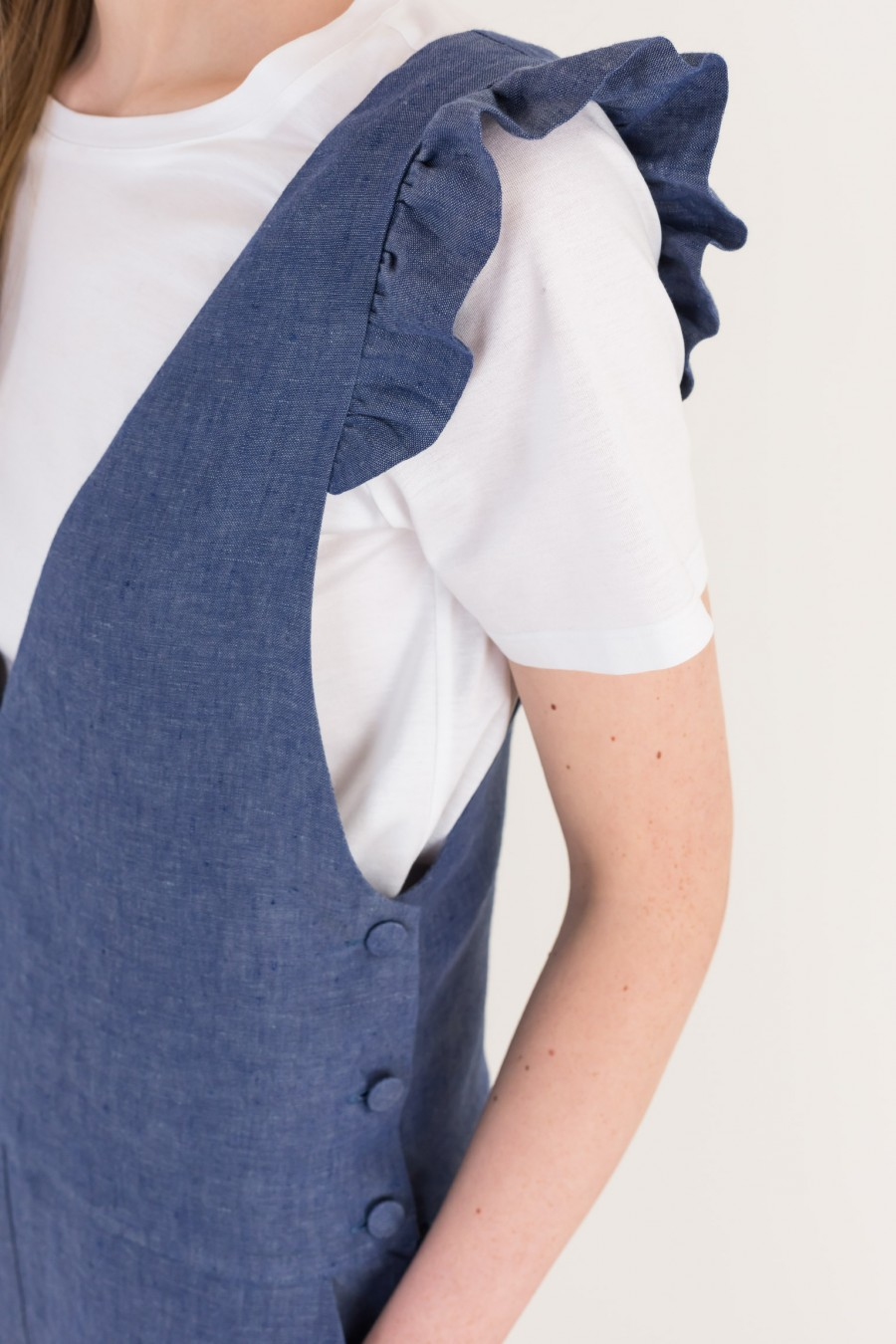 Denim overalls with ruffles