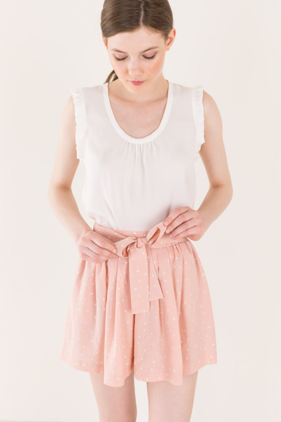 Pale pink shorts with bow