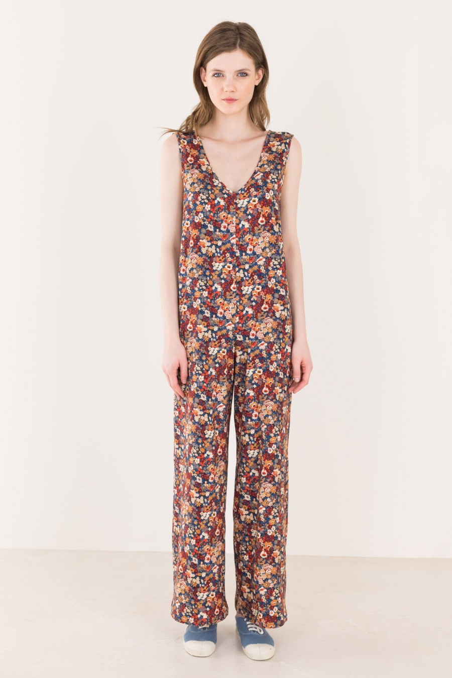 Flowered long overalls