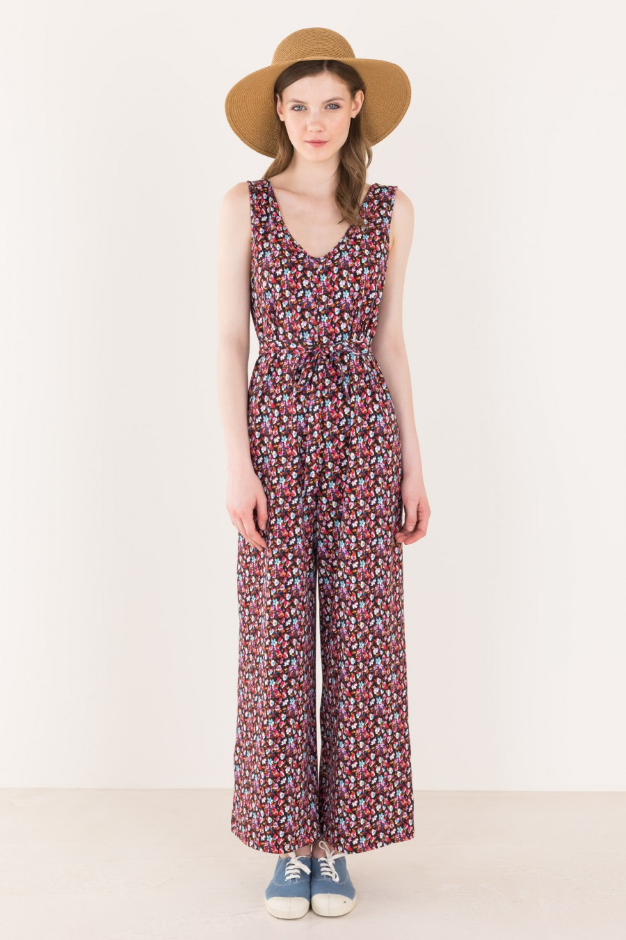 Printed long overalls